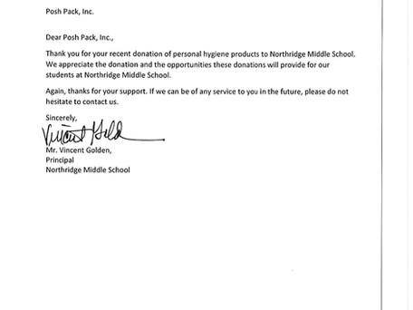 Posh Pack donates pads to Charlotte Mecklenburg School, Northridge Middle!