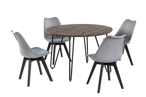 """""""GALAXY"""" 5-PCS DINING SET IN BROWN AND GREY"""