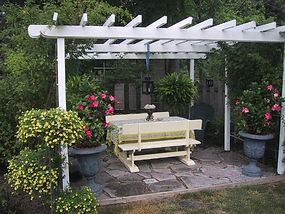 Garden pergola at the Apple Tree Historic B&B