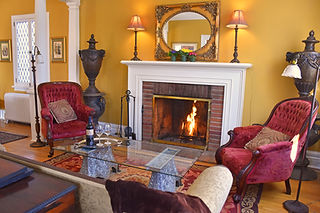 Cozy front parlour of the Apple Tree Historic B&B