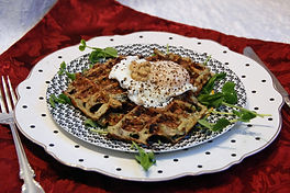 Fresh Vegetable Waffles with Poached Egg