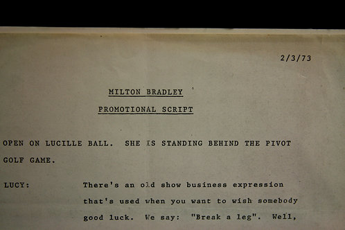 Milton Bradley-Solotaire TV Script for L. Ball