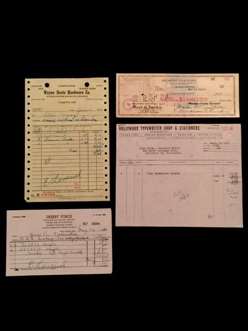 Set of Receipts and Checks for Arnaz Family