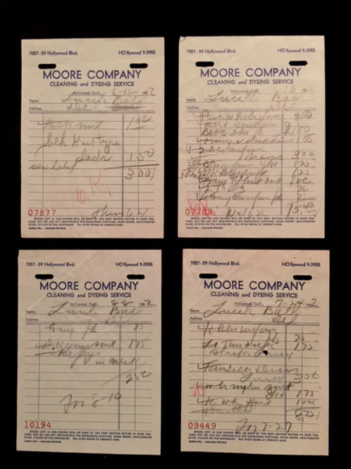 Lucille Ball Dry Cleaning Original Receipts
