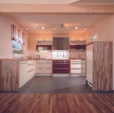 Interno cucina villa moderna in bioedilizia