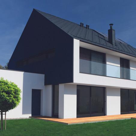 Villa in bioedilizia con tetto e rivestimento in Prefa