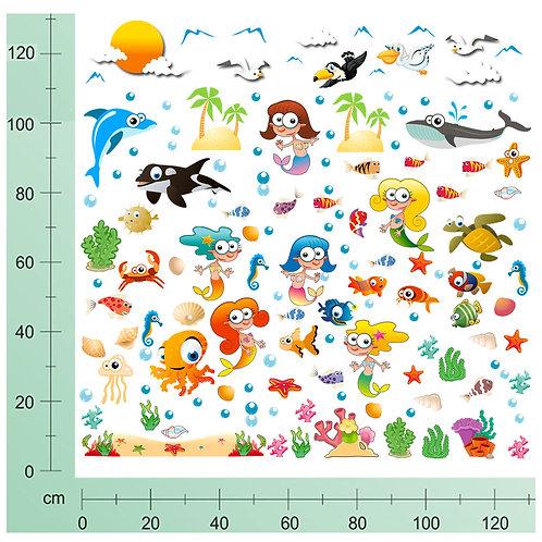 Kit Wall Stickers Sirene 100 pezzi
