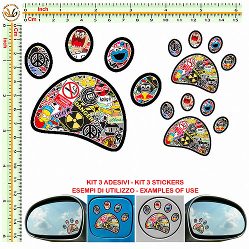 Adesivi specchietti impronta Sticker bomb mirror auto 3 Pz.