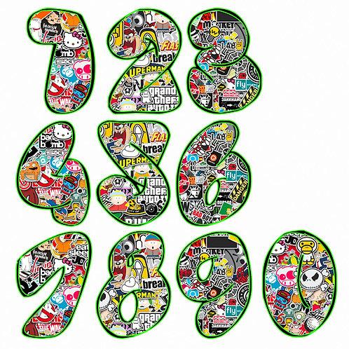 Adesivi numeri sticker bomb number comic design 2 pz. cm. 10-5