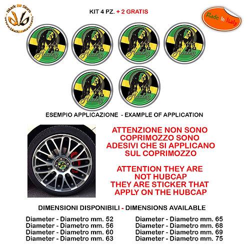 Adesivi coprimozzo bob marley sticker for hubcap auto moto