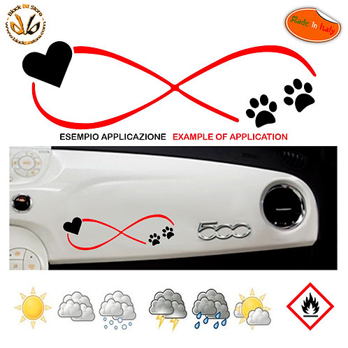 Adesivo cruscotto infinito dog love dashboard sticker auto