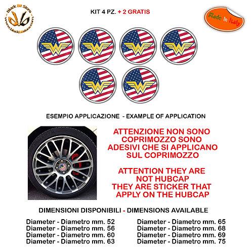 Adesivi coprimozzo wonder woman usa flag sticker for hubcap auto moto