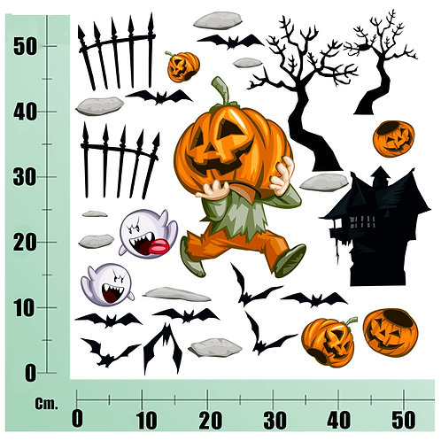 Kit Wall Stickers Zucca Hallowen 25 pezzi