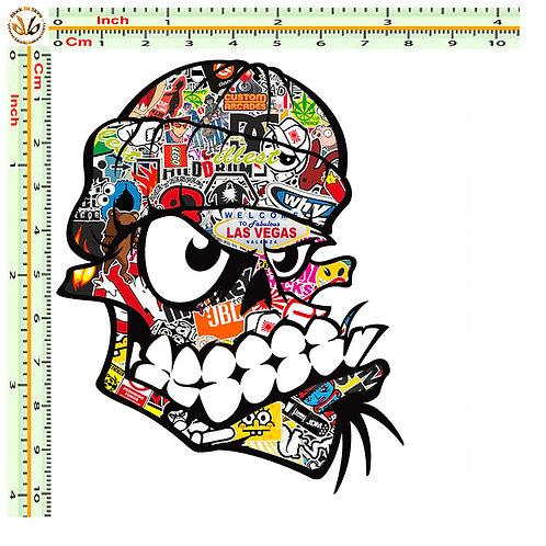 Adesivi Teschio bad skull Sticker bomb auto 1 Pz.