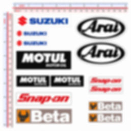 sticker sponsor SAN CARLO SNAP-ON MOTUL SBS ELF BETA SUZUKI ARAI SHOEI BRIDGESTONE DUNLOP ALPINESTAR PATA AGIP AXO KTM ENEOS