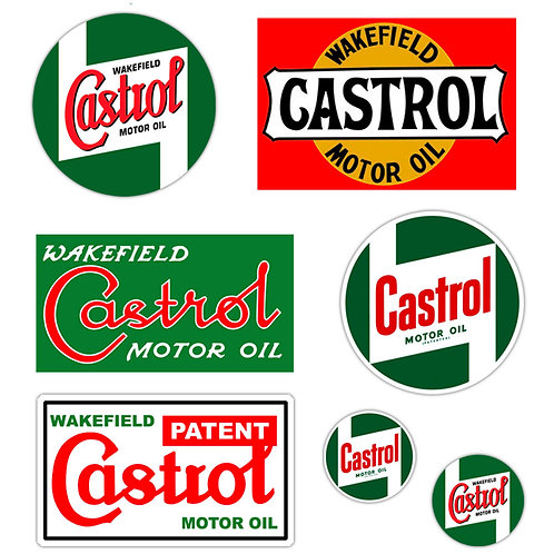 Adesivi vintage castrol Sticker helmet auto moto 6 Pz.