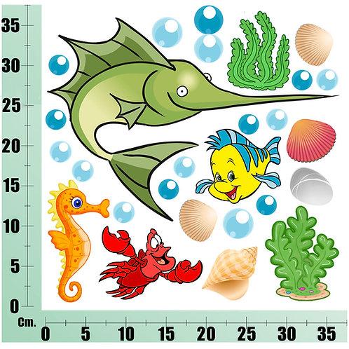 Kit Wall Stickers Pesce Spada 25 pezzi