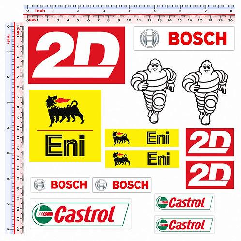 Sticker sponsor 2D bosch castrol eni michelin 14 pz.