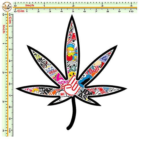 Adesivi cannabis haid Sticker bomb auto 1 Pz.