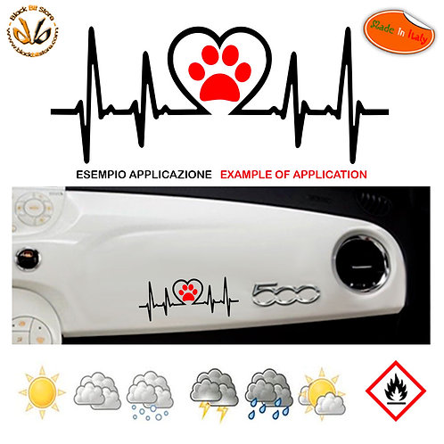 Adesivo cruscotto cardio dog love dashboard sticker auto