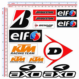adesivi sponsor tecnici sticker DUNLOP BRIDGESTONEAXO ELF KTM ARROW SUZUKI MICHELIN DUCATI ENI FIRESTONE REGINA CHAIN AGIP ARAI MOVISTAR