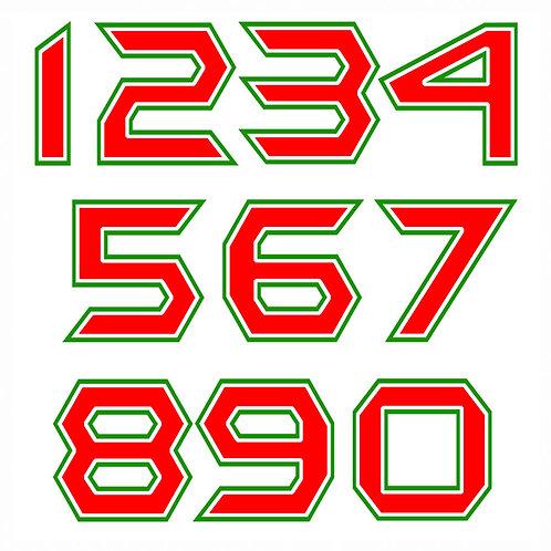 Sticker number flag italy Adesivi numeri italia 2 pz. cm. 10-5