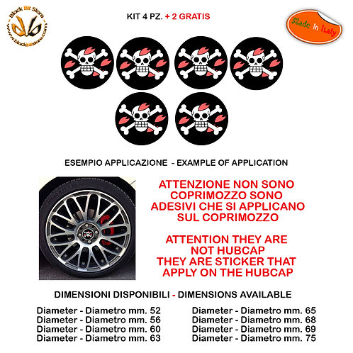 Adesivi coprimozzo one piece chooper skull sticker for hubcap auto moto