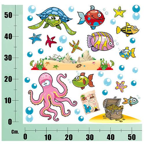 Kit Wall Stickers  Tesoro pesci  30 pezzi