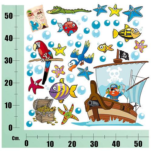 Kit Wall Stickers  Pirati e Coccodrilli 30 pezzi