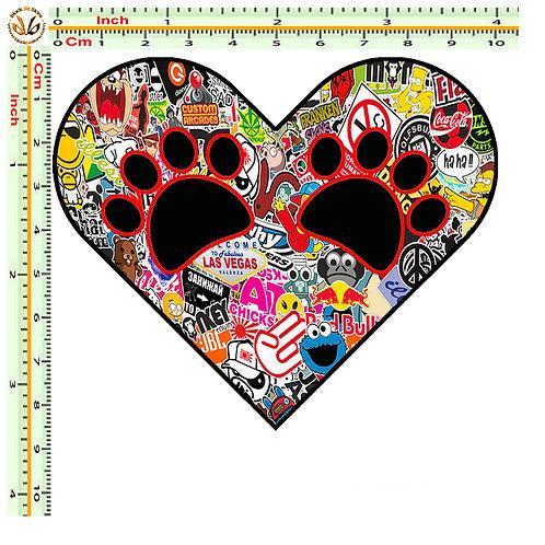 Adesivi cuore impronte heart Sticker bomb auto 1 Pz.