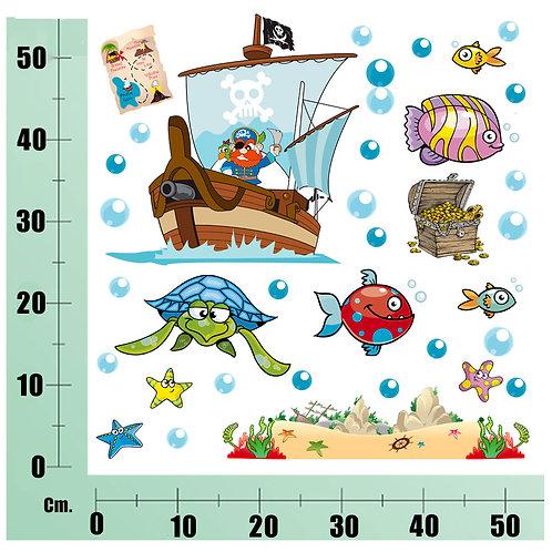 Kit Wall Stickers  Nave dei Pirati 30 pezzi