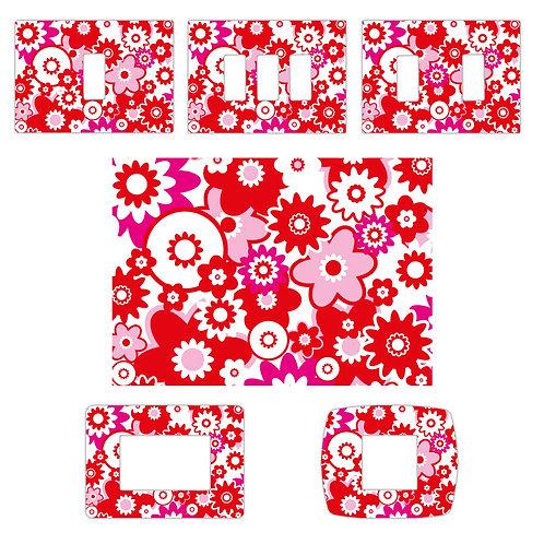 Switch sticker flowers red 4 pz.