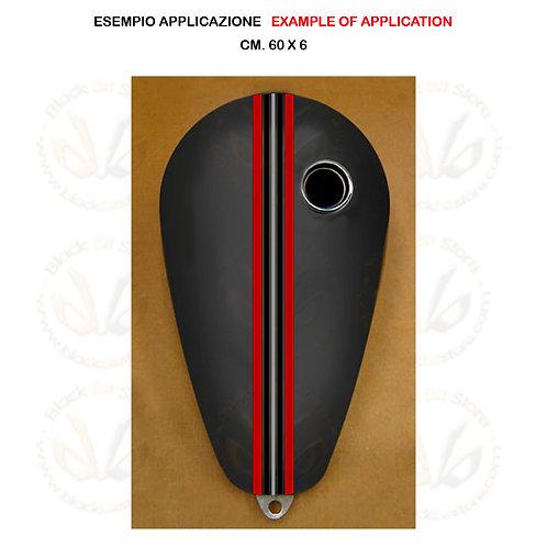 Adesivo serbatoio moto striscia rosso nero argento sticker tank red black silver