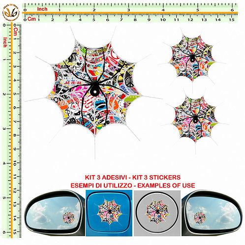 Adesivi specchietti ragno spider Sticker bomb mirror auto 3 Pz.