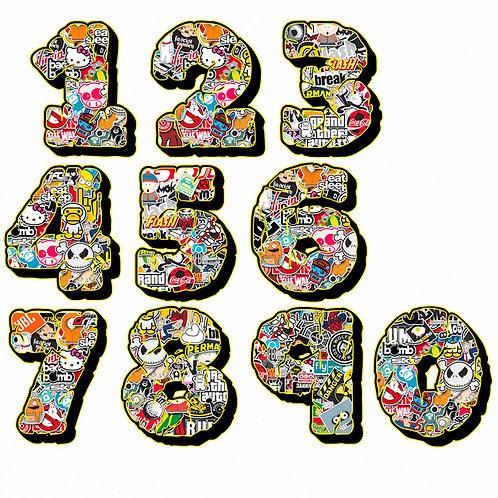 Adesivi numeri sticker bomb number wall design 2 pz. cm. 10-5