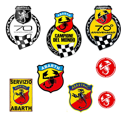 Adesivi abarth vintage 70 anniversario Sticker helmet auto moto