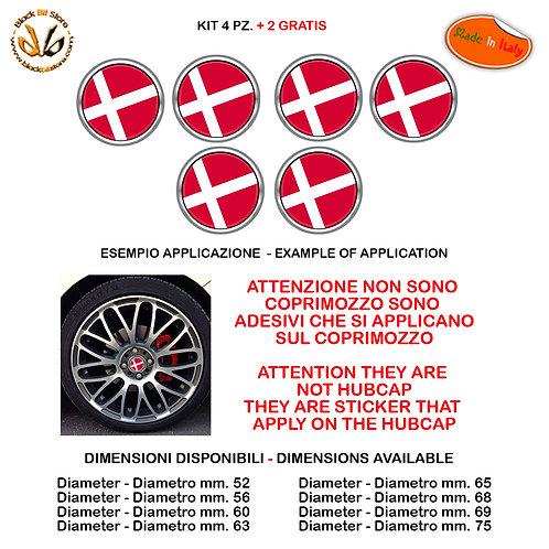 Adesivi coprimozzo bandiera danimarca flag sticker for hubcap auto moto