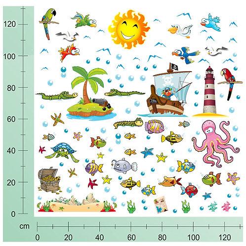 Kit Wall Stickers pirati 100 pezzi