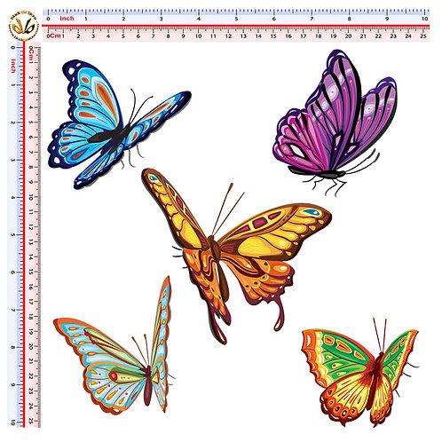 Adesivi farfalle Sticker butterflies decal 5 Pz.