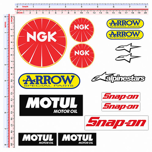 Sticker sponsor ngk arrow alpinestar motul snap-on 15 pz.