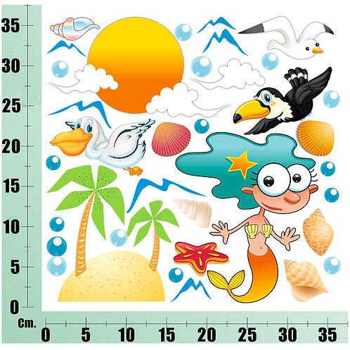 Kit Wall Stickers Isola sul Mare 20 pezzi