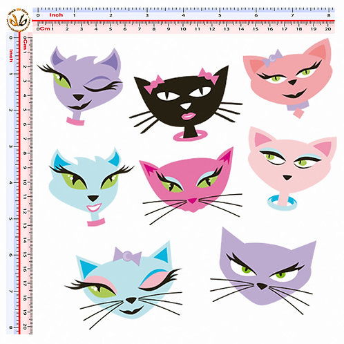 Adesivi faccine gatti Sticker cat faces decal  8 Pz.