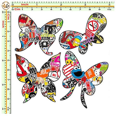 Adesivi farfalle butterfly Sticker bomb auto 4 Pz.