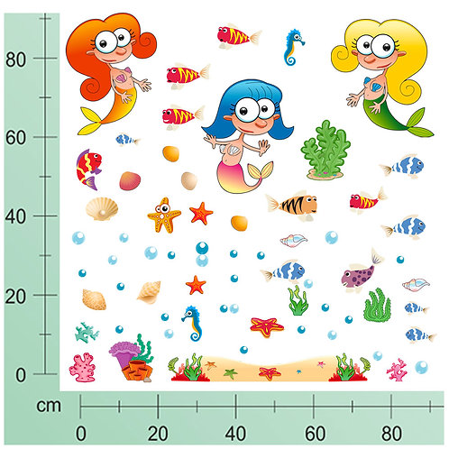 Adesivi murali pesci  Sirene 50 pezzi