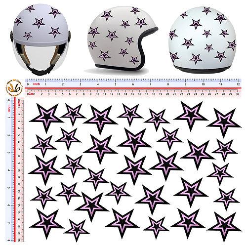 Adesivi casco Stelle rosa nero