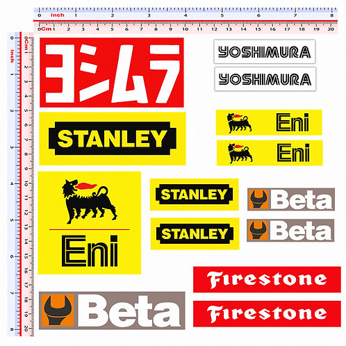 Sticker sponsor eni beta firestone stanley yoshimura 14 pz.