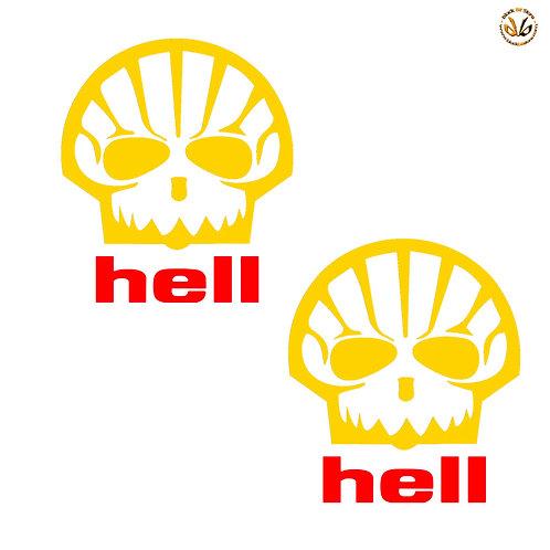 Adesivi Hell skull Sticker helmet auto moto pvc red yellow