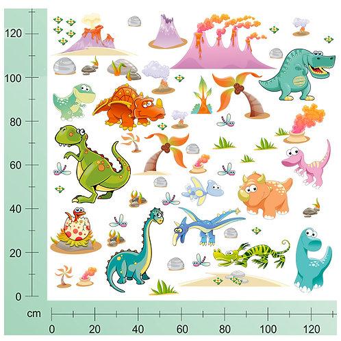 Kit Wall Stickers Dinosauri  60 pezzi
