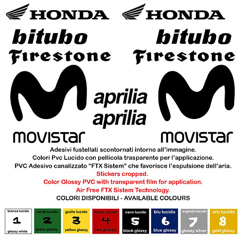 Sticker sponsor Honda Bitubo Firestone Aprilia Movistar 10 Pz.