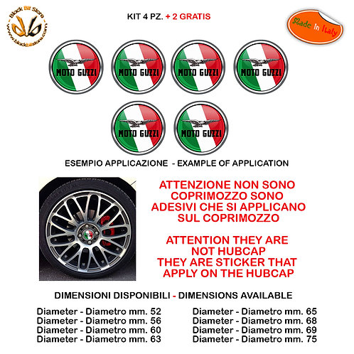 Adesivi coprimozzo moto guzzi italia sticker for hubcap auto moto